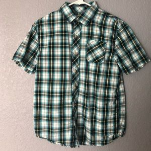 Arizona short sleeve plaid button down 14/16 L